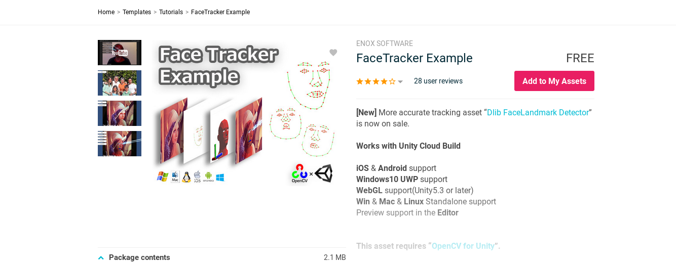 FaceTracker OpenCV and Unity Project