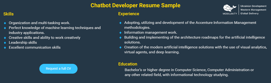 chatbot developer resume sample