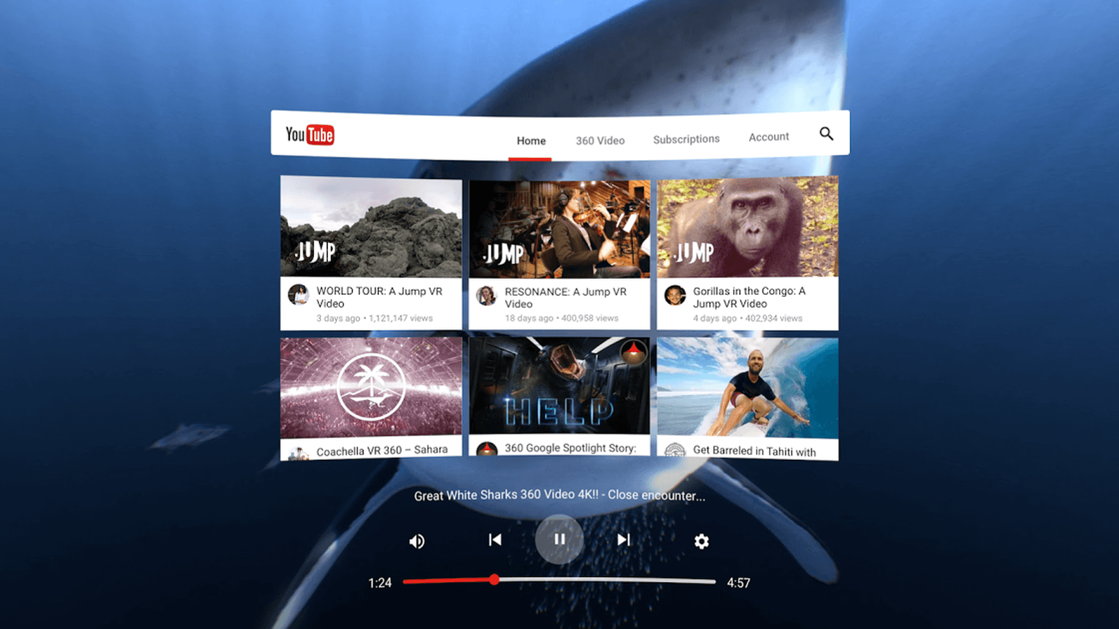 Virtual reality App for YouTube