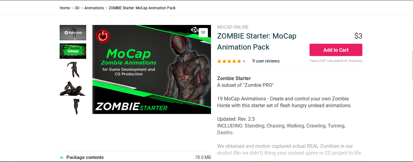Zombie Starter MoCap Animation OpenCV and Unity Projecy