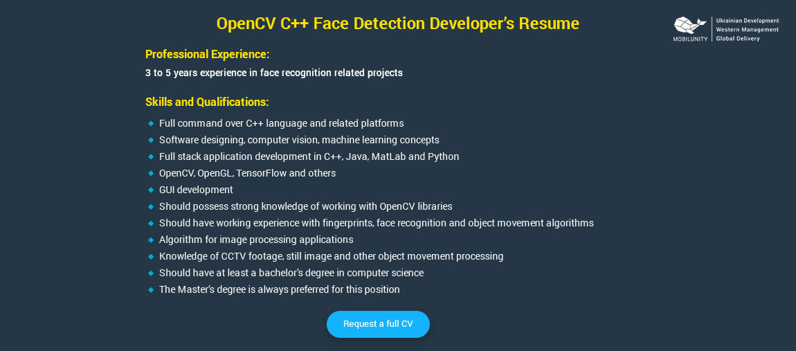 how to hire opencv c   face detection developer