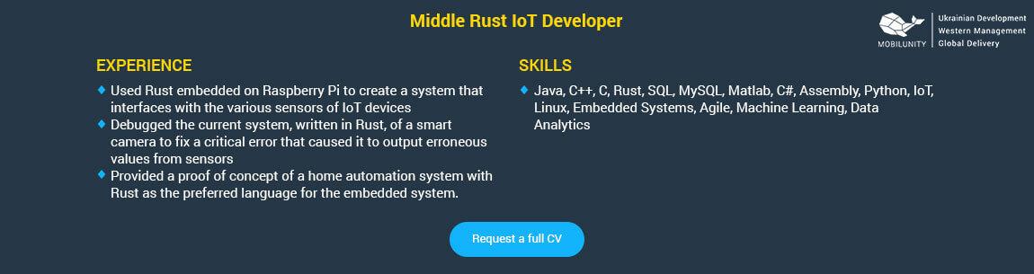 rust coder resume sample