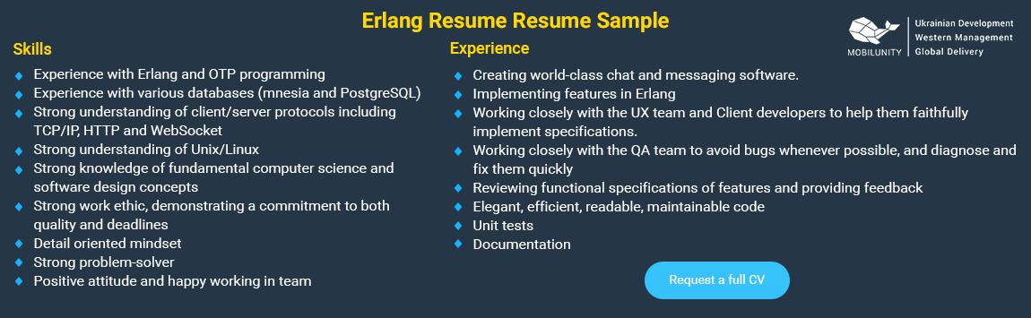 Erlang developer resume sample