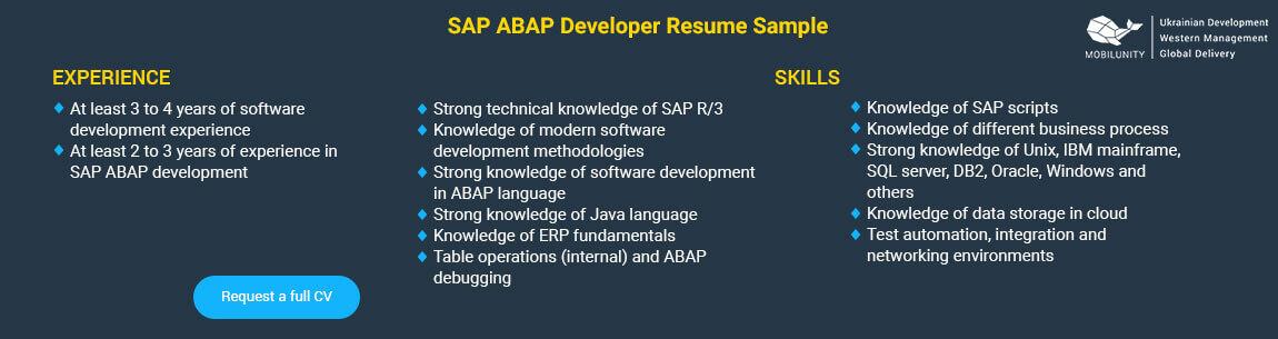 abap developer resume sample