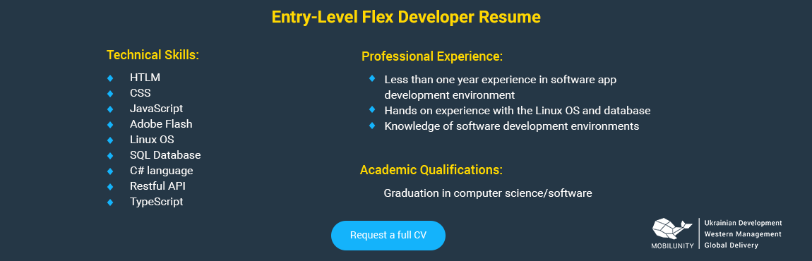 entry level flex developer resume