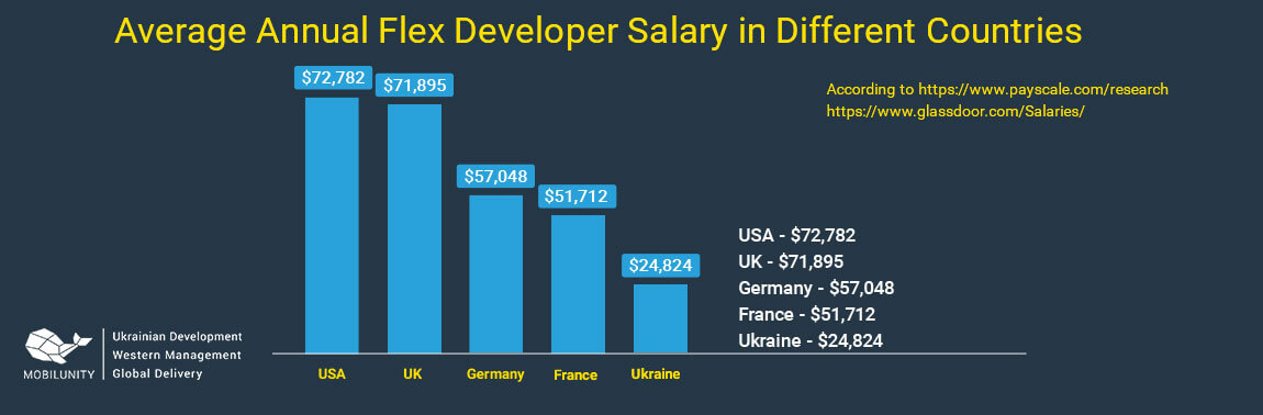 flex developer salary in different countries