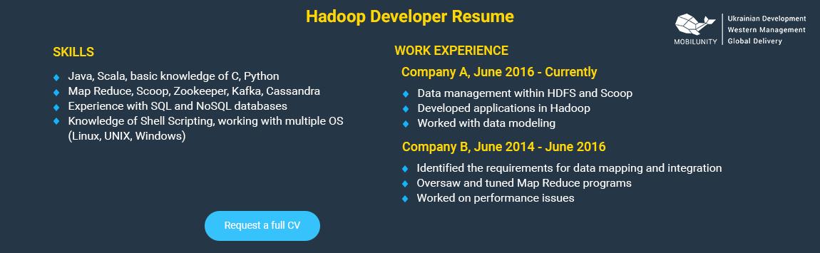 hadoop developer resume