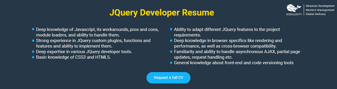 jquery developer resume sample