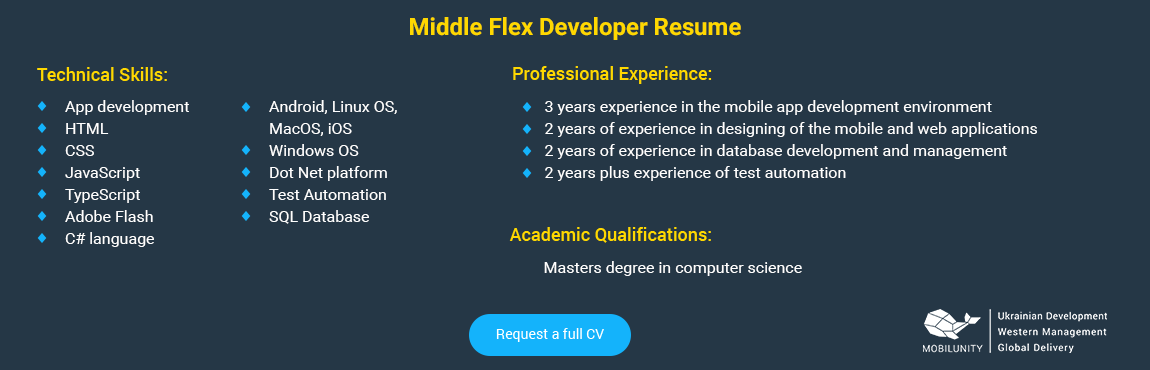 middle flex developer resume