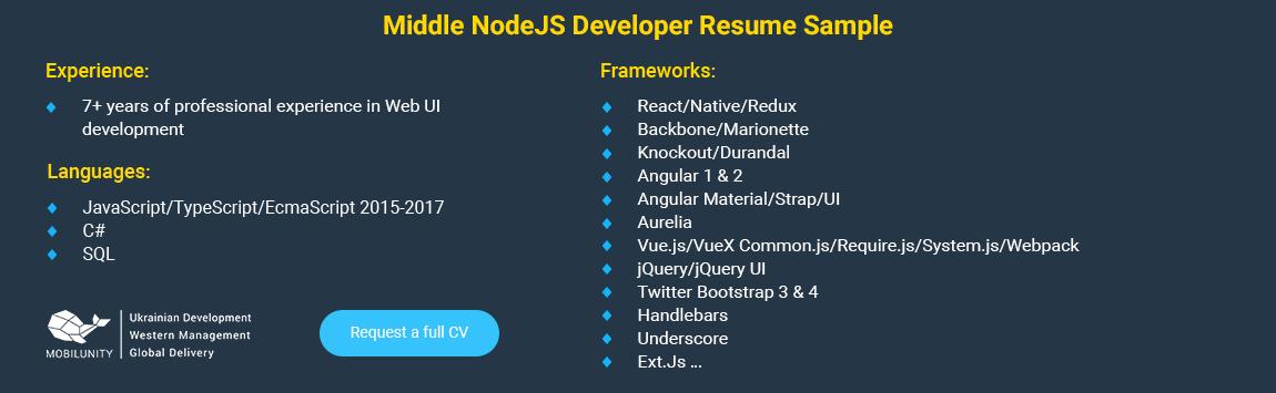 nodejs developer resume