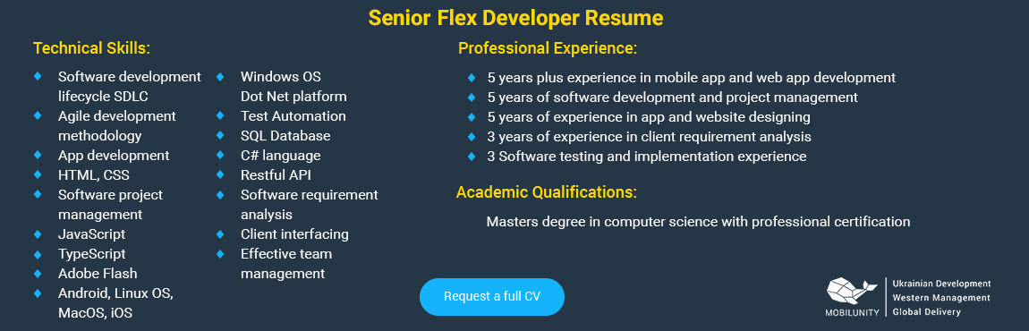 senior flex developer resume