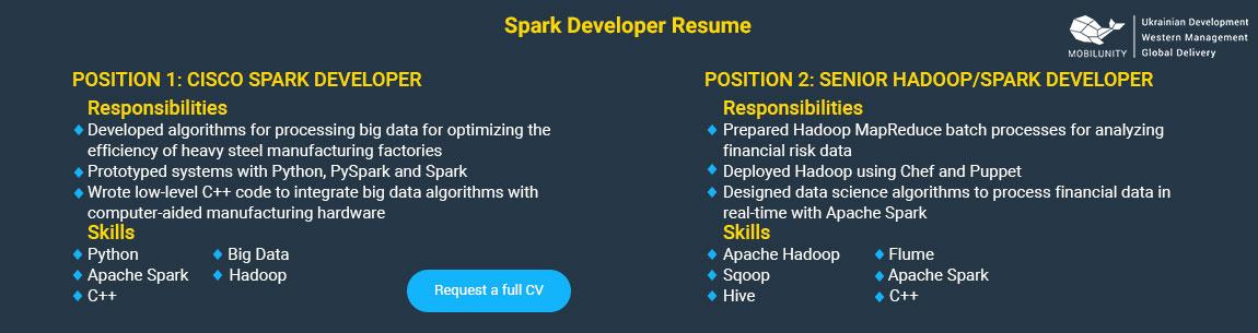 spark developer resume