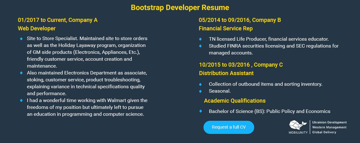 Bootstrap developer resume