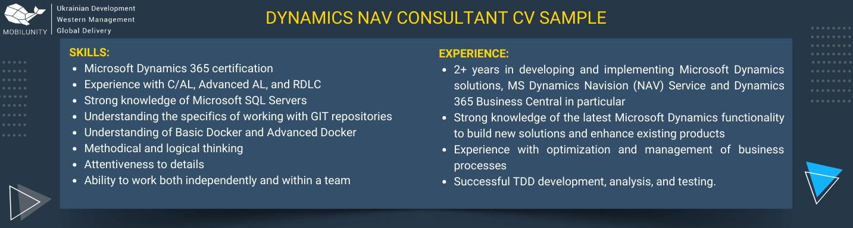 dynamics nav consultant cv sample
