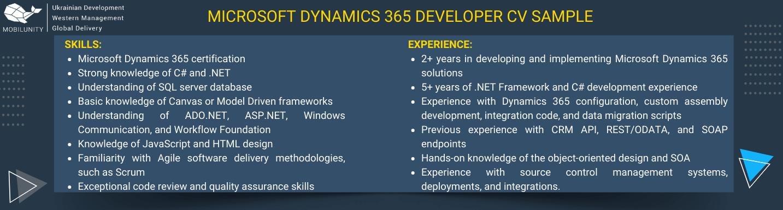 microsoft dynamics 365 developer resume sample