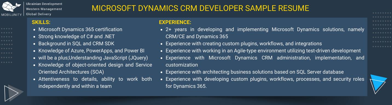 microsoft dynamics crm developer resume sample