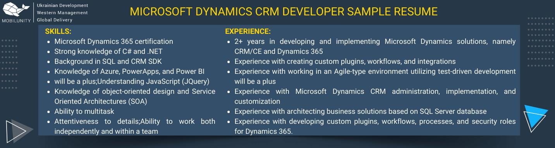 microsoft dynamics crm developer sample resume