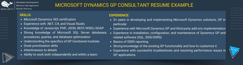 microsoft dynamics gp consultant resume example
