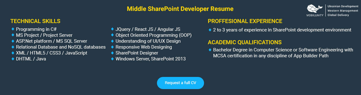 middle sharepoint expert resume example