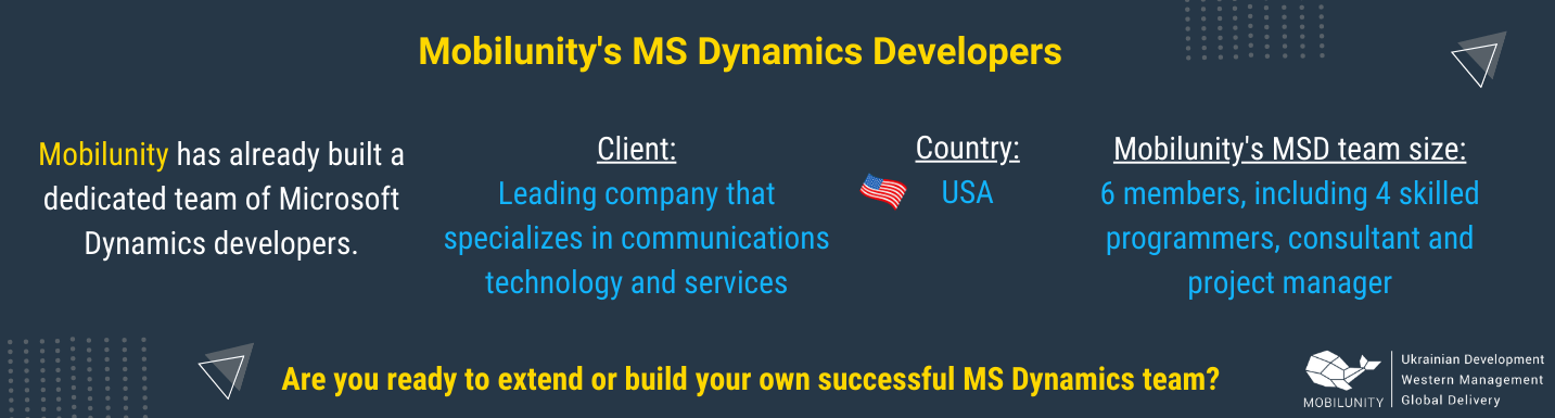 mobilunity succeeded in finding ideal microsoft dynamics developer for client