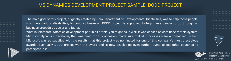 ms dynamics development project sample