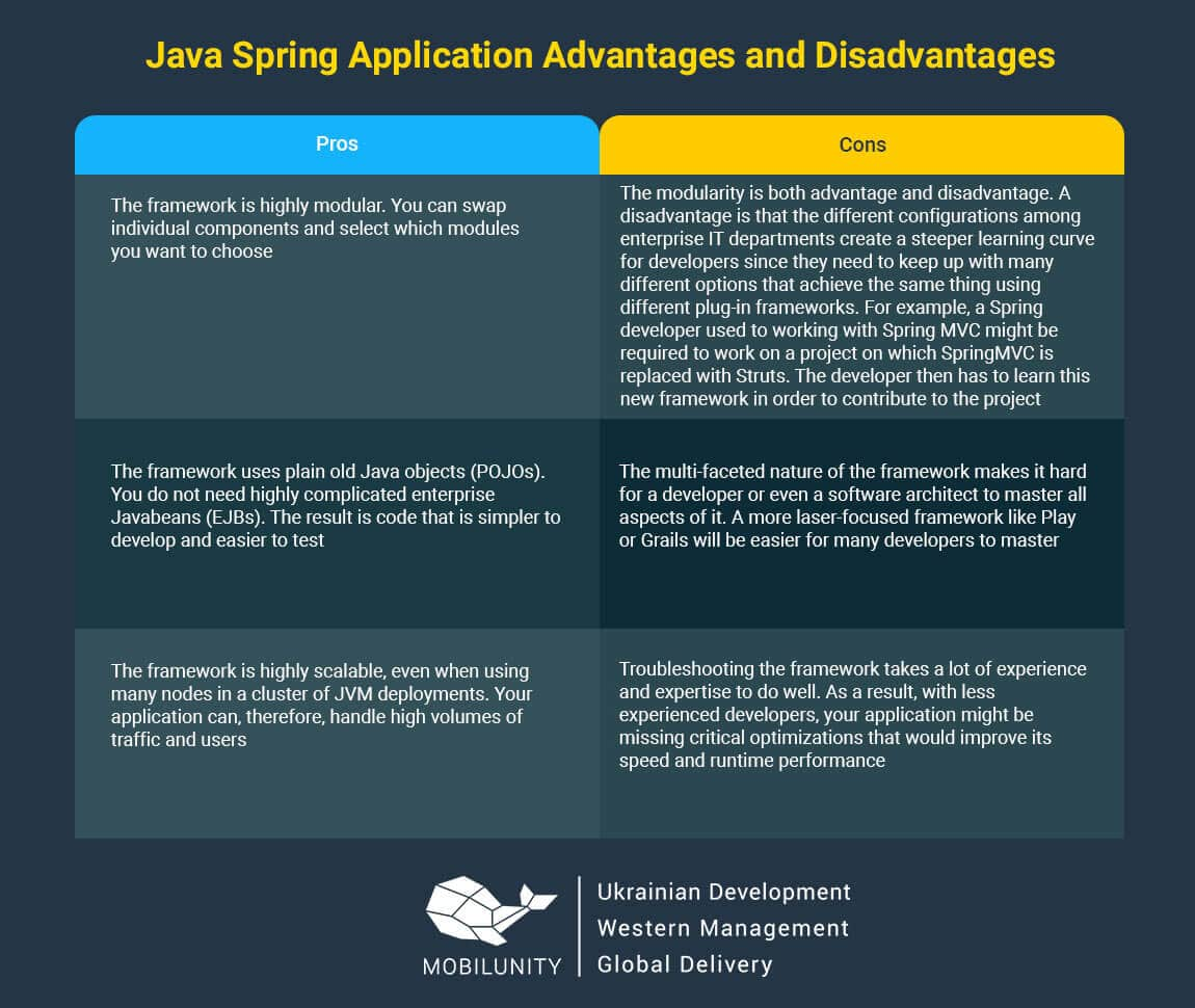 pros and cons of spring web development