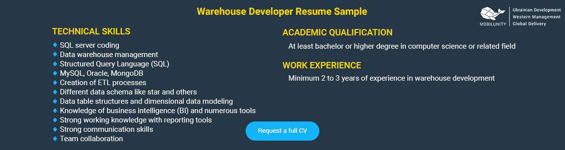 warehouse programmer resume sample