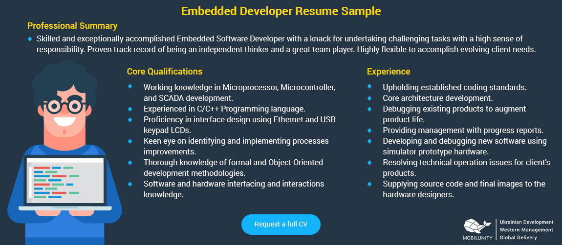 embedded developer resume sample