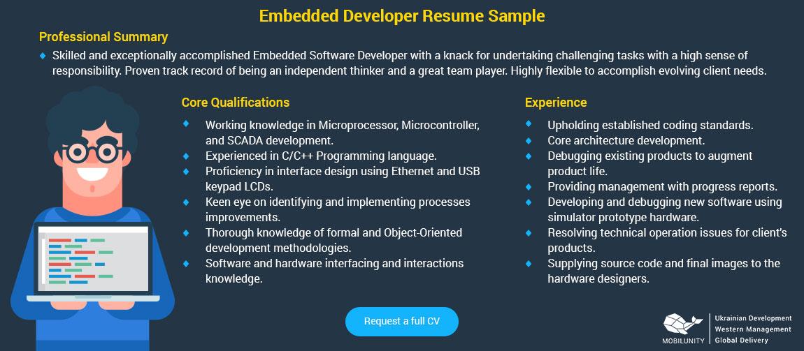 embedded developer resume sample