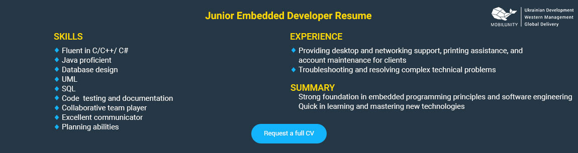 junior embedded application developer resume sample