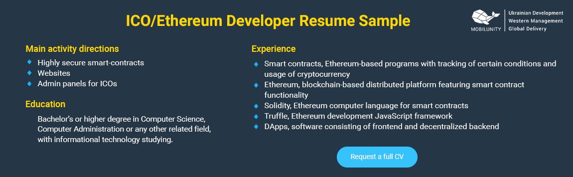 ethereum developer resume sample
