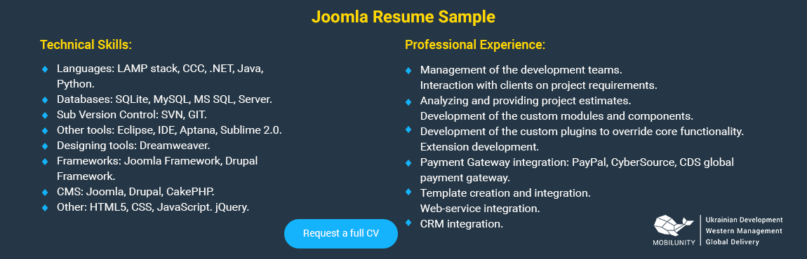 joomla developer resume sample