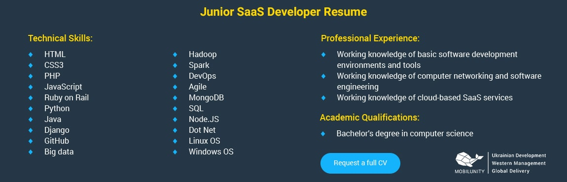 junior saas engineer resume sample