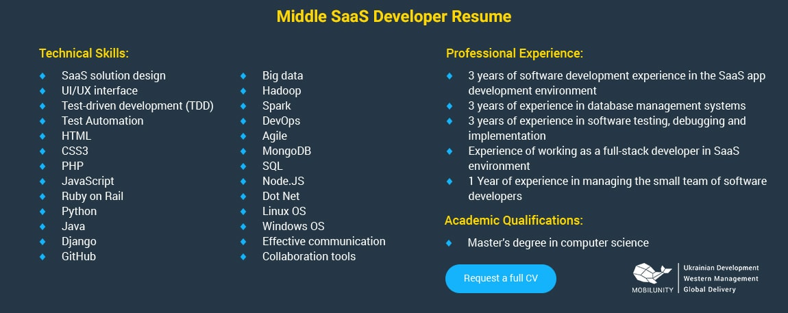 middle saas expert resume sample