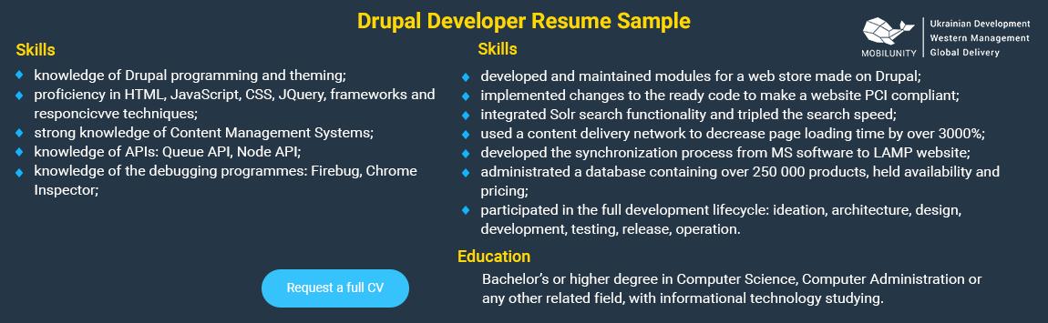 sample of drupal developer resume