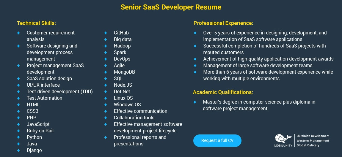 senior saas engineer resume example