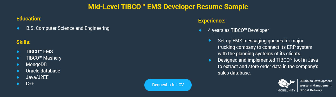 middle tibco developer resume