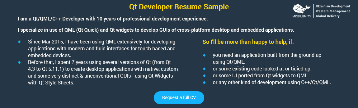 qt software developer resume