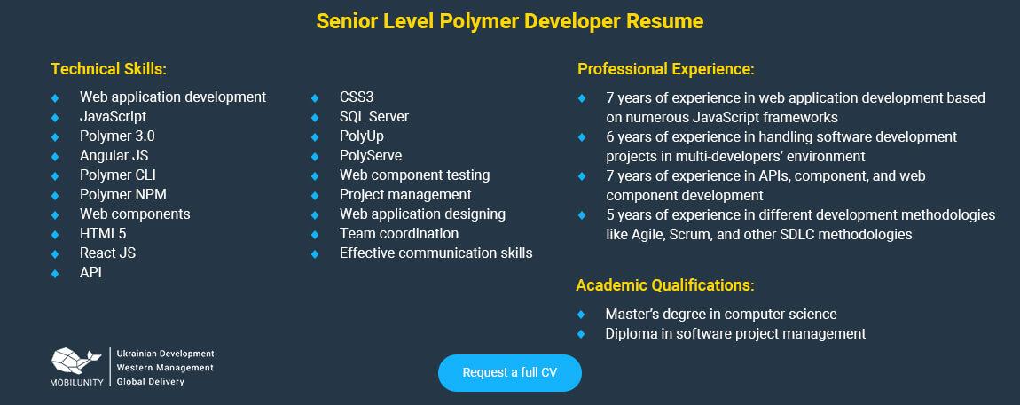 senior polymer developer resume