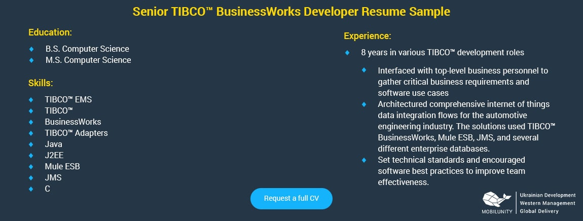 senior tibco developer resume