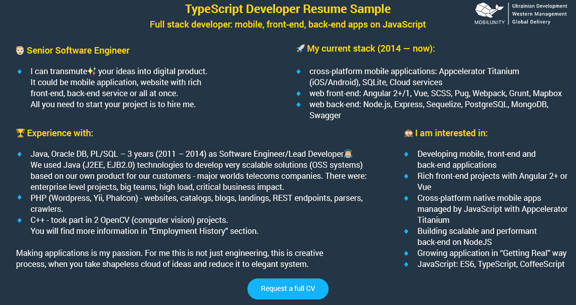 typescript developer resume sample
