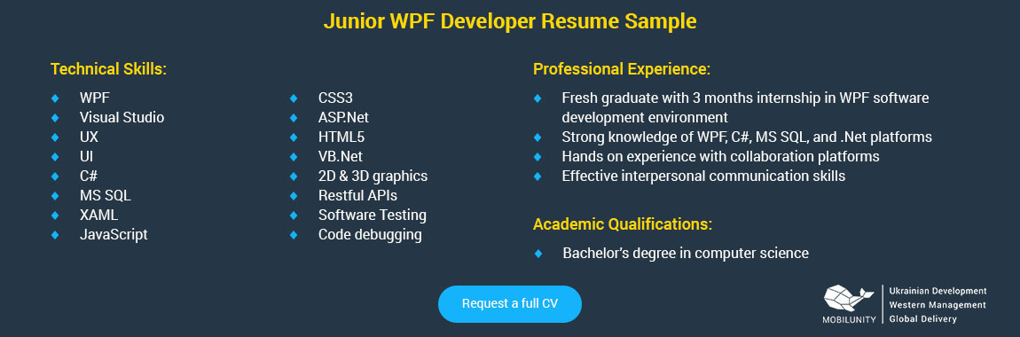 junior wpf developer resume sample