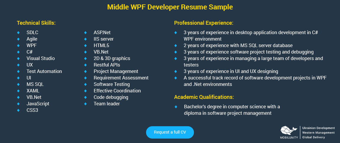 middle wpf developer resume