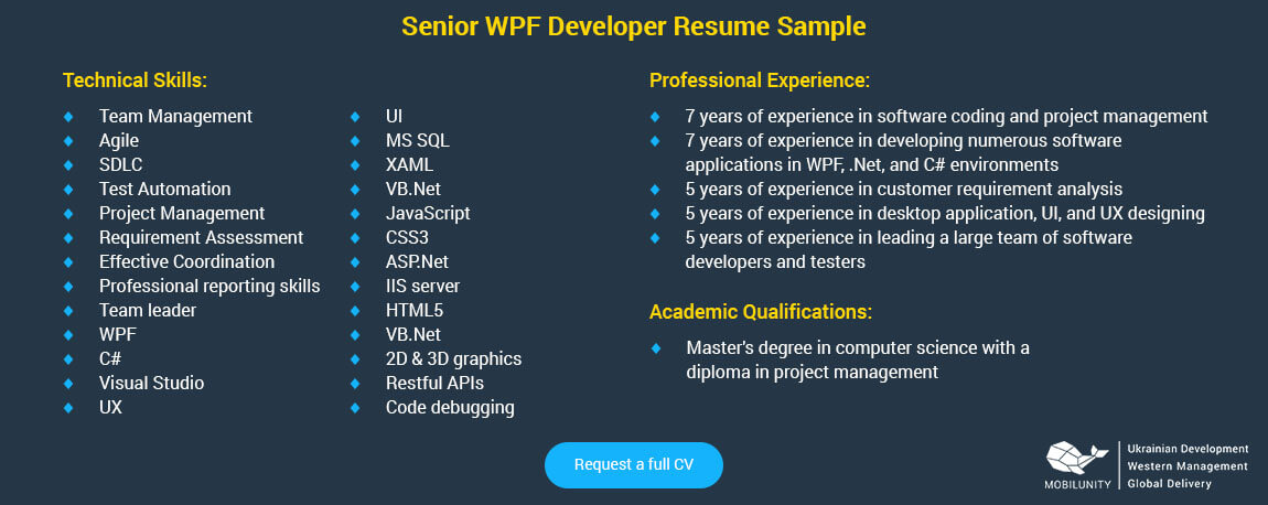 senior wpf developer resume sample