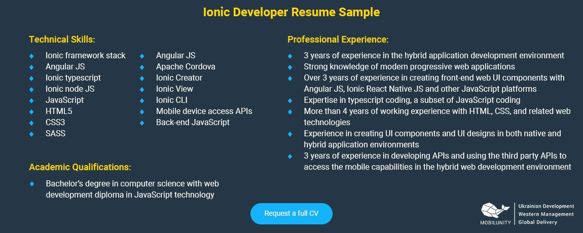 ionic developer resume