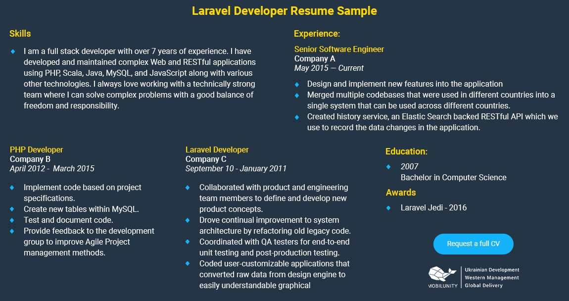 How Ideal Laravel Developer Resume Look Like? | Mobilunity