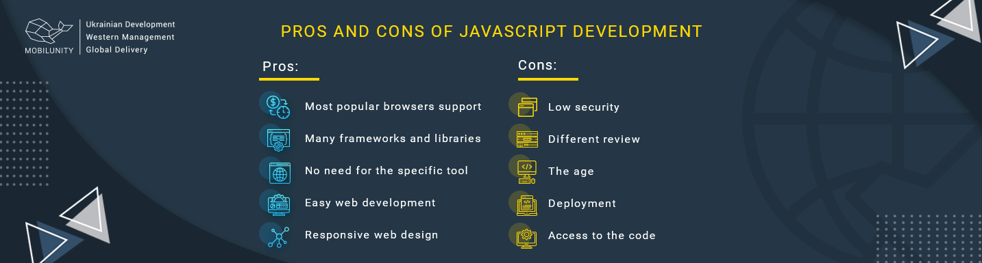pros and cons of javascript development