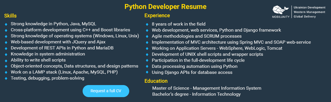 python developer resume