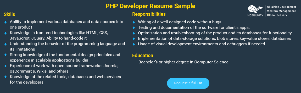 sample of php developers resume