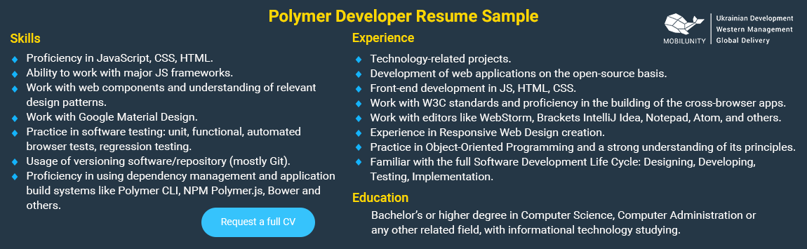sample of polymer js resume